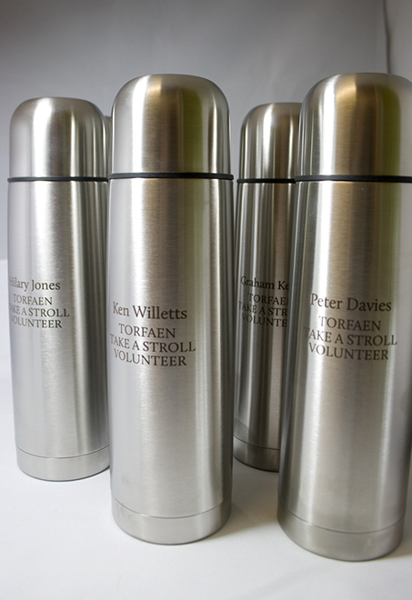 Etched thermos flask