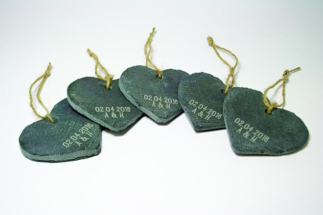 engraved welsh slate hearts