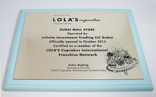 Lola's Cupcakes Engraved Plaque