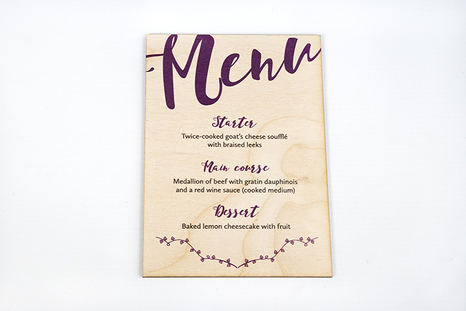 Printed Wooden Menu