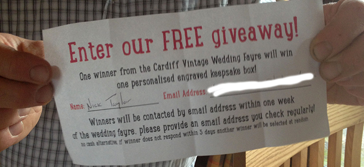 Bespoke Laser UK Wales Blog Cardiff Vintage Wedding Fayre Competition Winner Announced Main Thumbnail