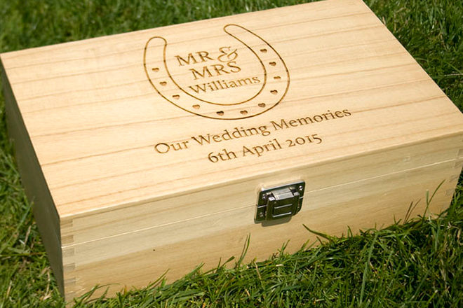 Bespoke Laser UK Wales Weddings Engraved Wooden Keep Safe Box 1