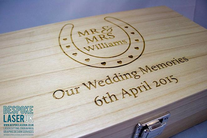 Bespoke Laser UK Wales Weddings Engraved Wooden Keep Safe Box 2