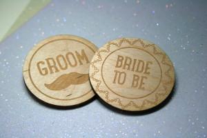 Bespoke Laser UK Wales Weddings Engraved Wooden Badges 1